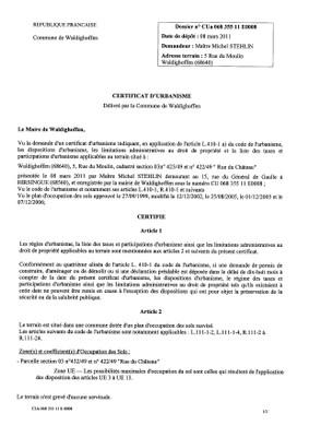 Certificat d'urbanisme n°11E0008 - Me Michel STEHLIN