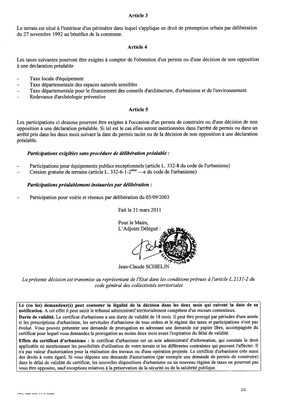 Certificat d'urbanisme n°11E0009 - Me Michel STEHLIN