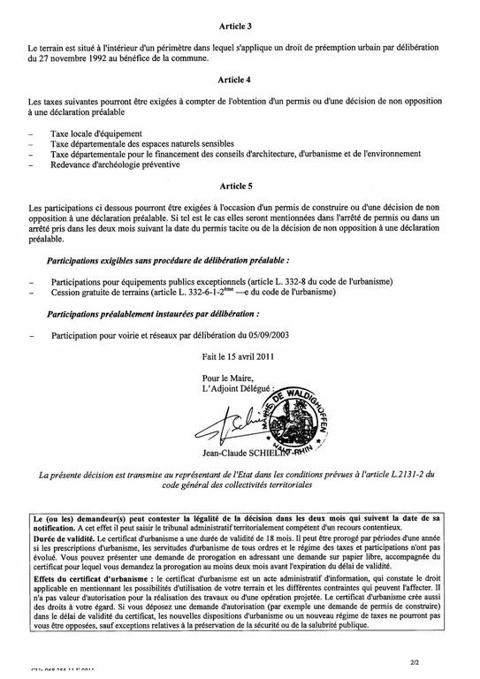 Certificat d'urbanisme n°11E0011 - Me MEURLET-KOHLER