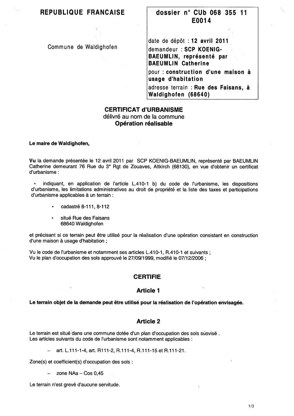 Certificat D Urbanisme Operationnel N 11e0014 Me Catherine Baeumlin