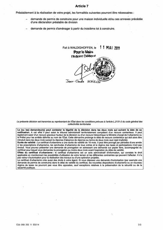 Certificat d'urbanisme opérationnel n°11E0014 - Me Catherine BAEUMLIN