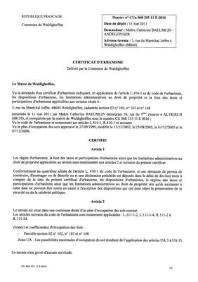 Certificat d'urbanisme n°11E0016 - Me BAEUMLIN - ANDELFINGER