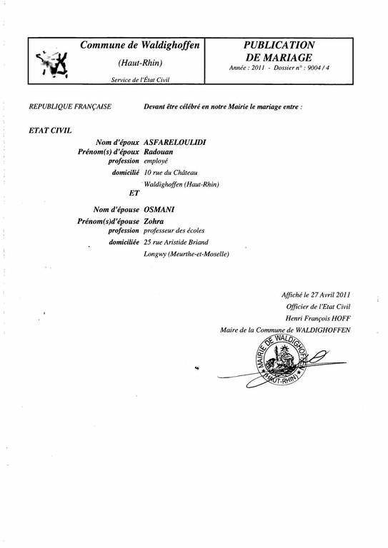Publication de mariage M. ASFARELOULIDI Radouan et Mlle OSMANI Zohra