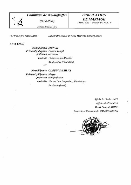 Publication de mariage M. MUNCH Fabien et Mlle OLGUIN DA SILVA Mayra