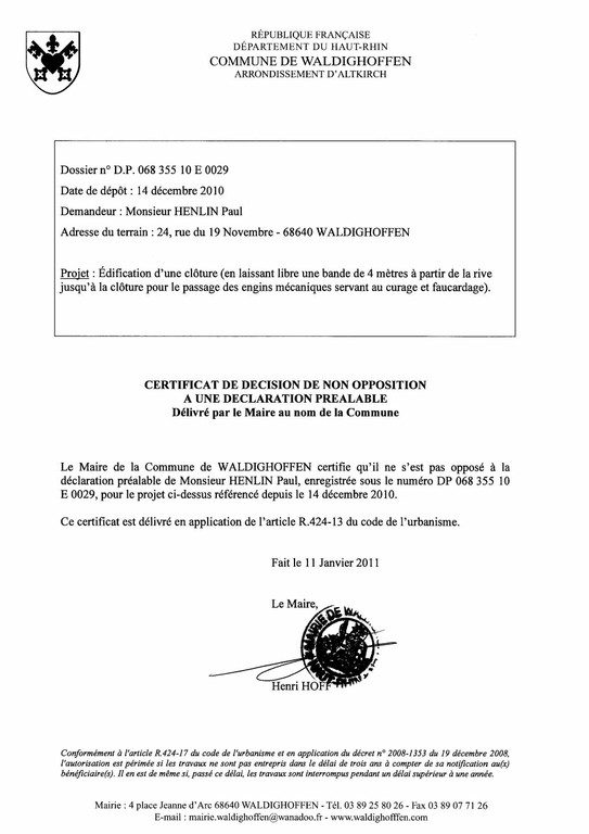 Non-opposition à une déclaration préalable - DP10E0029 - M. HENLIN