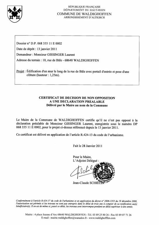 Non-opposition à une déclaration préalable - DP11E0002 - M. GISSINGER Laurent