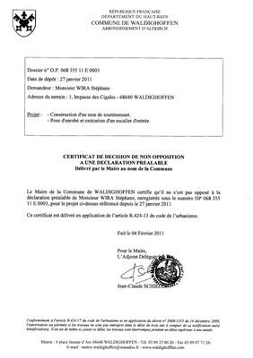Non-opposition à une déclaration préalable - DP11E0003 - M. WIRA Stéphane