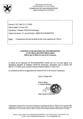 Non-opposition à la déclaration préalable n°11E0005 - Mme STEHLIN Dominique