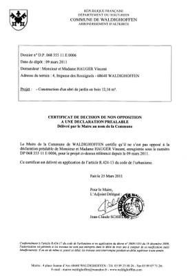 Non-opposition à une déclaration préalable n°11E0006 - M. et Mme HAUGER Vincent