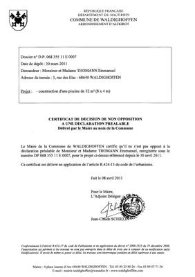 Non-opposition à une déclaration préalable n° 11E0007 - M. et Mme THOMANN Emmanuel