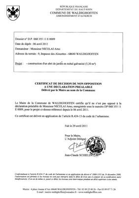 Non-opposition à une déclaration préalable n°11E0009 - M. NICOLAI