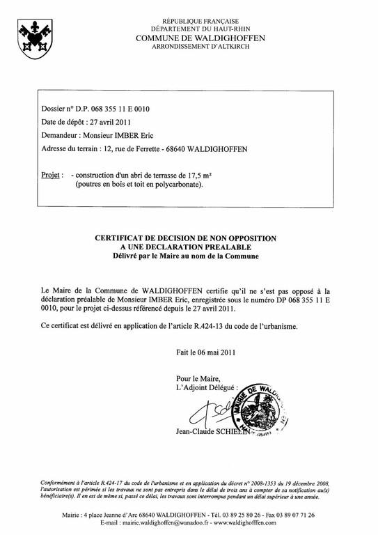 Non-opposition à une déclaration préalable n°11E0010 - M. IMBER Eric