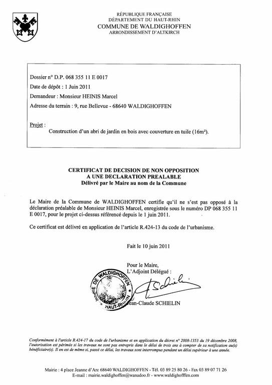 Non-opposition à la déclaration préalable n°11E0017 - M. HEINIS