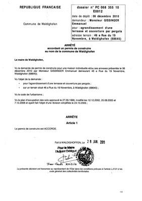 Arrêté accordant le permis de construire n°10E0012 - M. GISSINGER Emmanuel