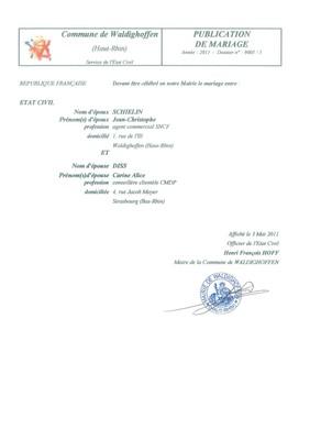 Publication de mariage M. SCHIELIN Jean-Christophe et Mlle DISS Carine