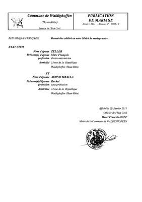 Publication de mariage M. ZELLER et Mlle AKONO MBALLA