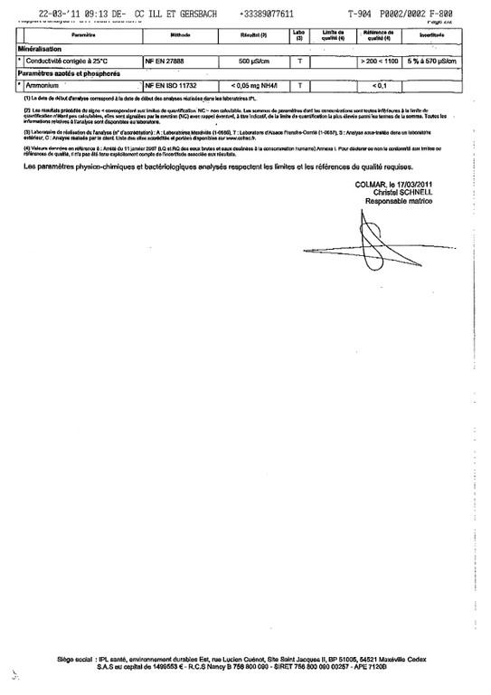 Rapport d'analyse d'eau potable n°C11-10081-D06 du 10/03/2011