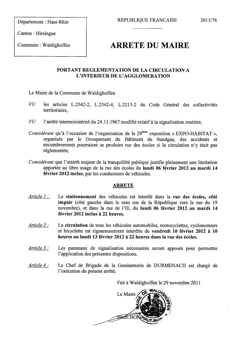 Arrêté du Maire n°2011/76 - circulation