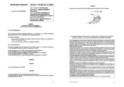 Arr t du permis d 39 am nager n 11e0001 de mme baeumlin for Certificat d urbanisme permis de construire