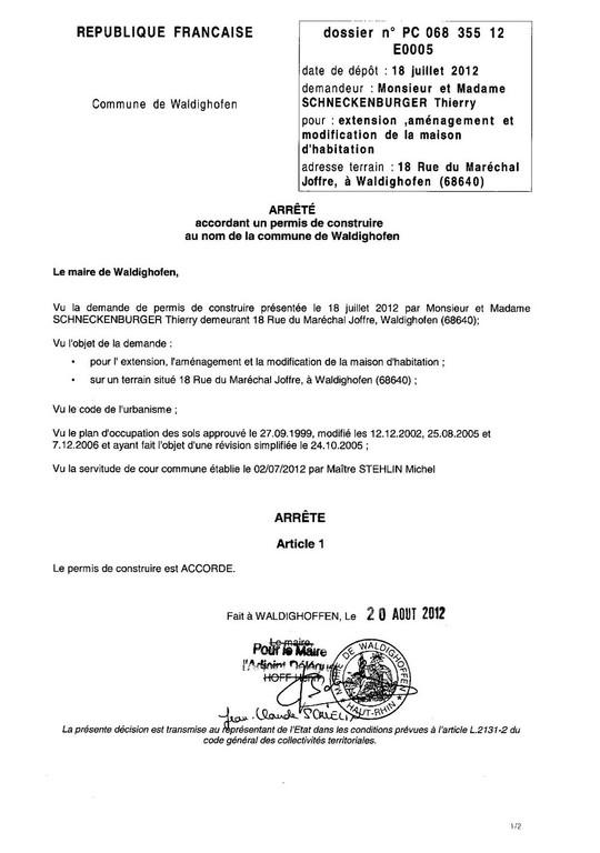 Accord pour le permis de construire 18 rue du mar chal joffre waldighoffen - Changement de destination permis de construire ...