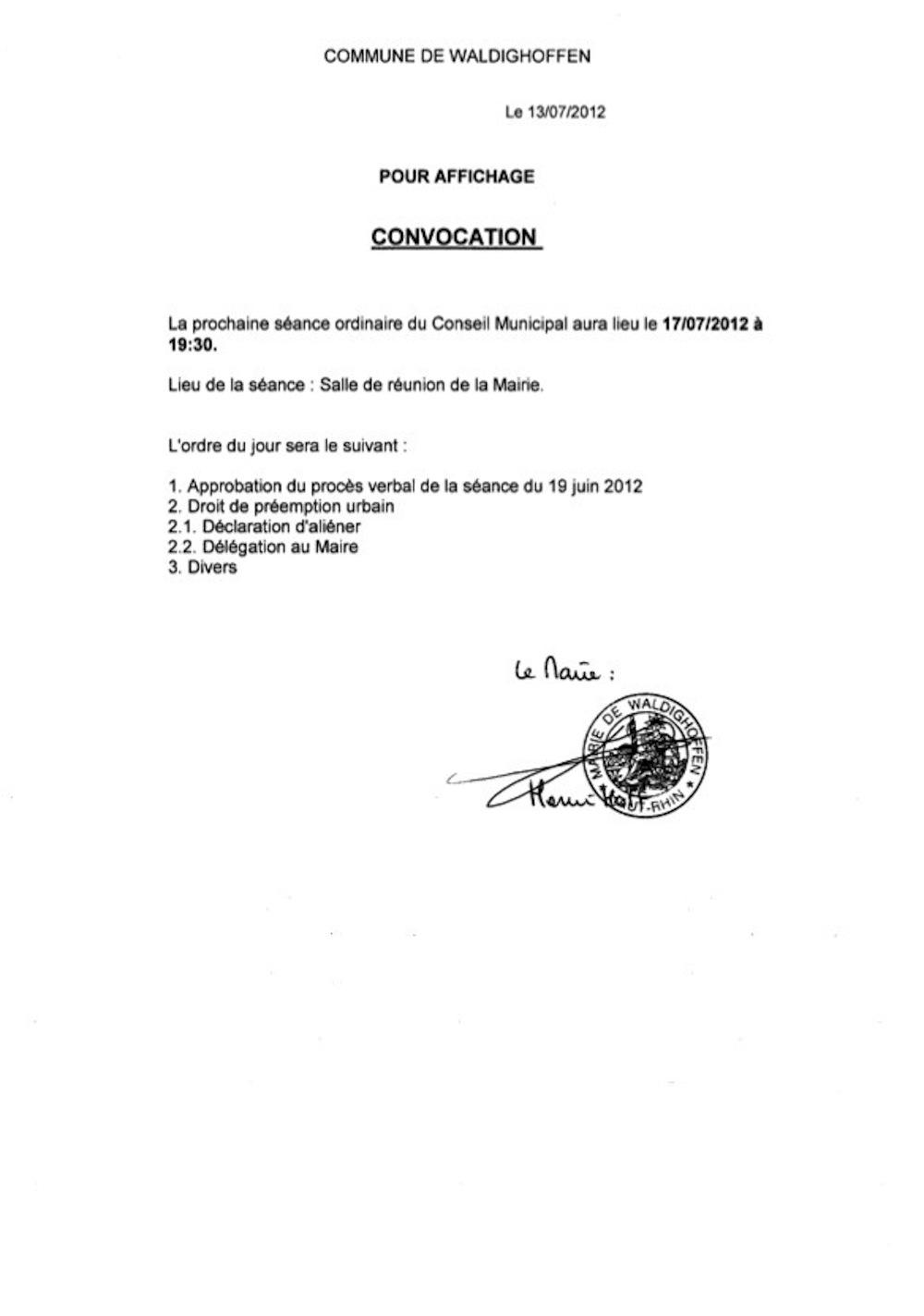 Convocation Conseil Municipal le 17.07.2012