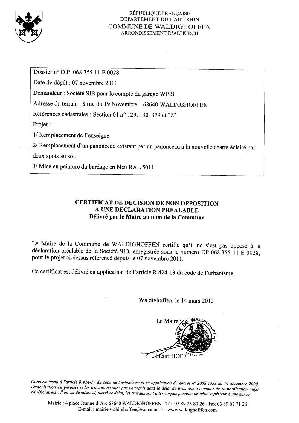 Non-opposition à la déclaration préalable n°11E0028 - Société SIB