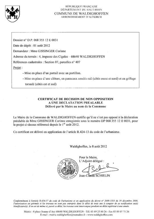 certificat de non opposition pour la dp 12e0031 waldighoffen. Black Bedroom Furniture Sets. Home Design Ideas