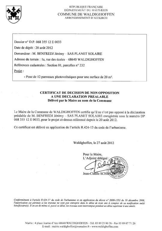 certificat de non opposition pour la dp 12e0033 waldighoffen. Black Bedroom Furniture Sets. Home Design Ideas