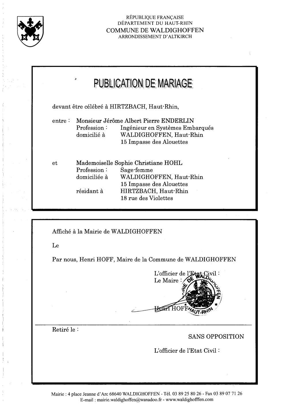 Publication de mariage M. ENDERLIN et Mlle HOHL