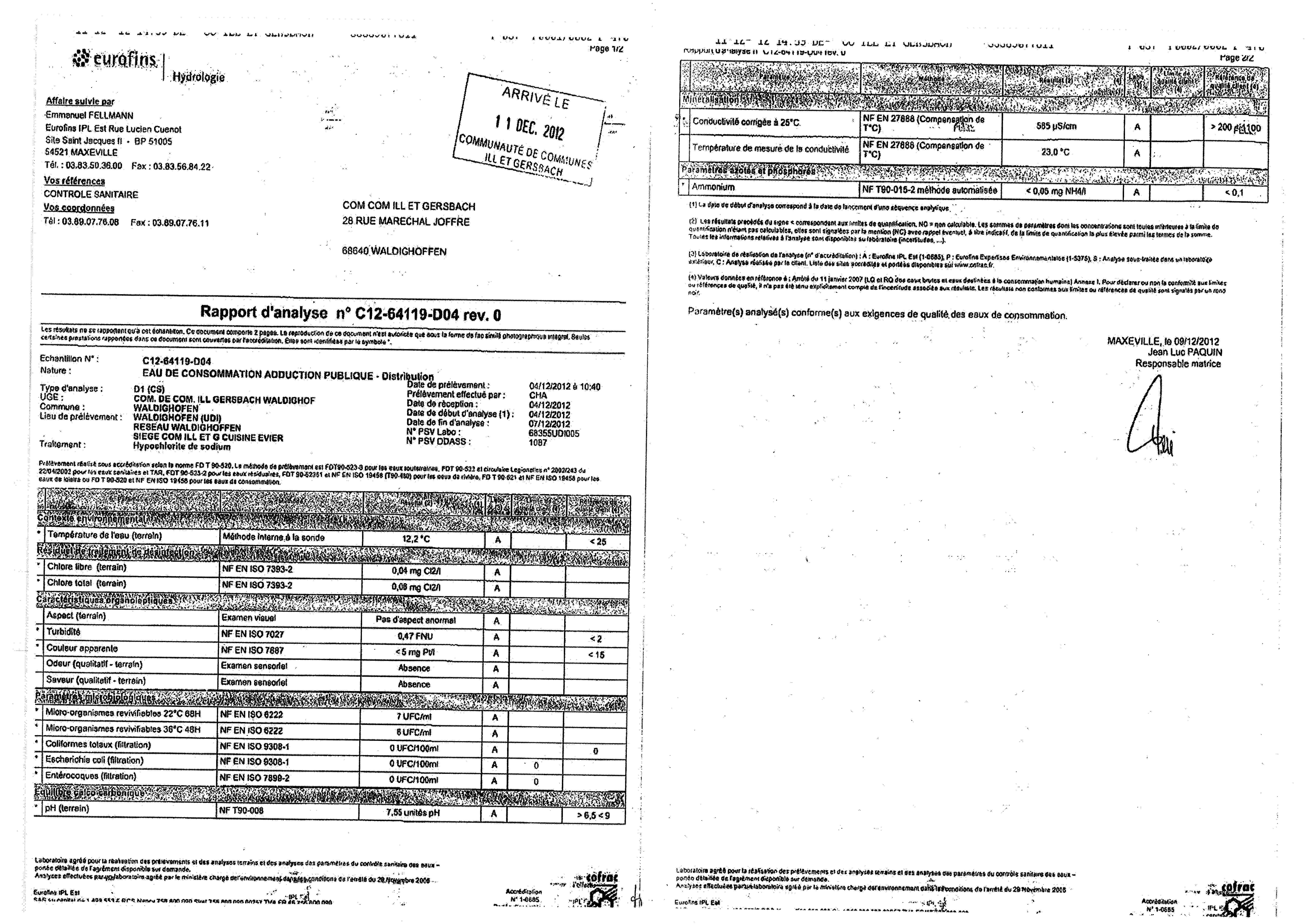 Rapport d'analyse d'eau potable n°C12-64119-D04 du 09/12/2012