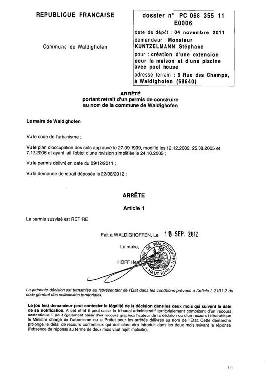 Retrait du permis de construire 11e0006 m kuntzelmann st phane waldighoffen - Changement de destination permis de construire ...