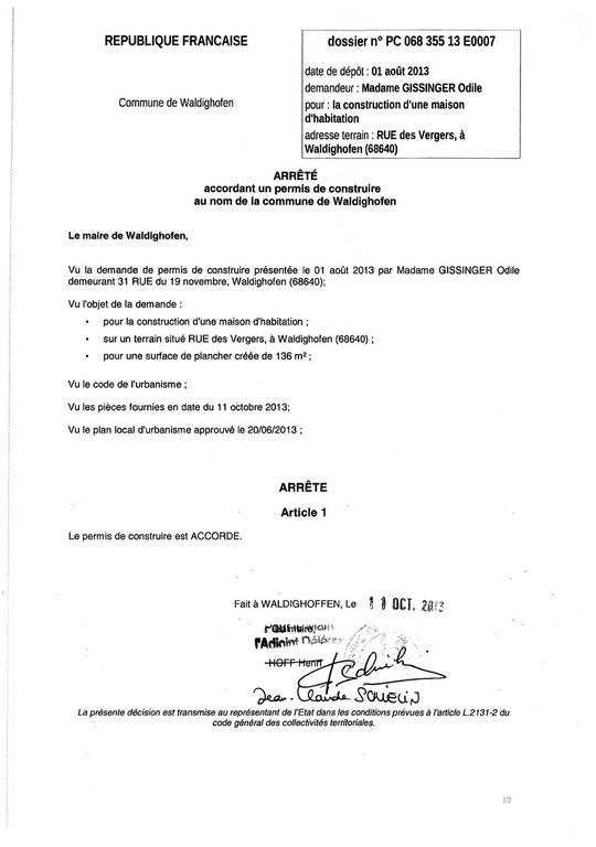 Arr t accordant le permis de construire n 13e0007 mme gissinger odile wa - Changement de destination permis de construire ...