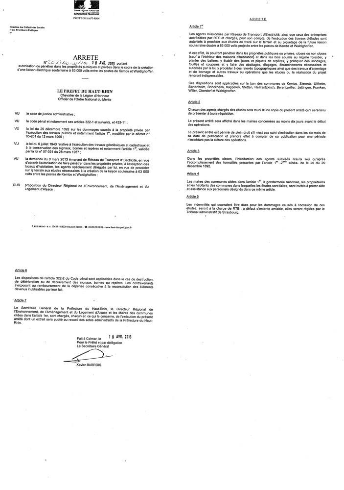 Arrêté 2013010 du 10.04.2013 - liaison électrique