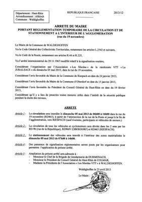Arrêté du Maire n°2013/12 - circulation