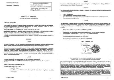 Certificat d 39 urbanisme n 13e0015 me chassignet for Certificat d urbanisme positif
