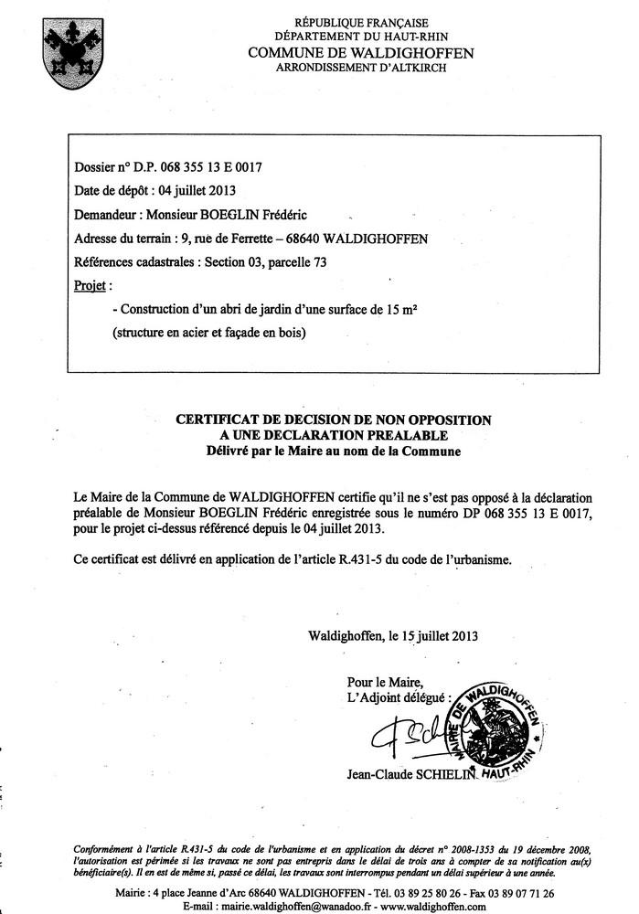 Déclaration préalable n°13E0017 - M. BOEGLIN