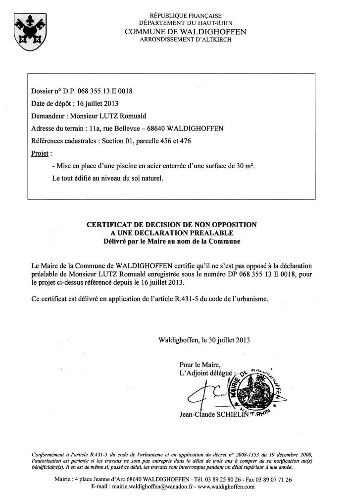 Déclaration préalable n°13E0018 - M. LUTZ