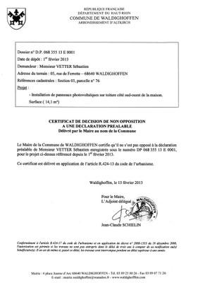 Non-opposition à la déclaration préalable n°13E0001 - M. VETTER