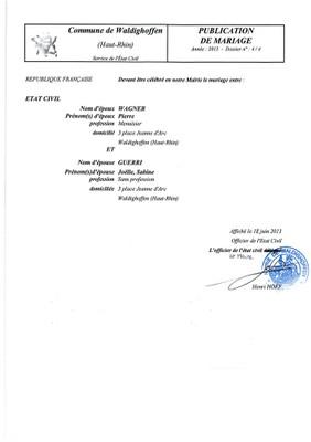 Publication de mariage M. WAGNER et Mlle GUERRI