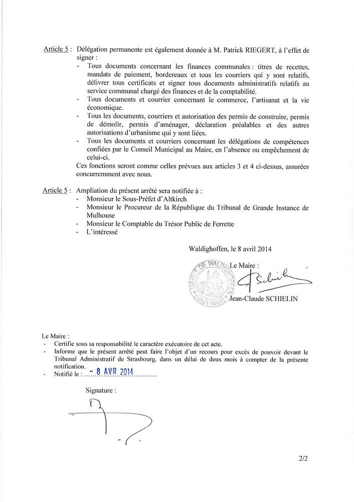 Arrêté du Maire : délégation pour M. RIEGERT