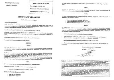 Certificat d 39 urbanisme d livr ma tre michel stehlin for Certificat d urbanisme positif