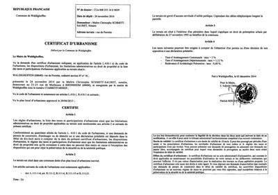 Certificat d 39 urbanisme d livr ma tre schmitt sauret for Certificat d urbanisme permis de construire