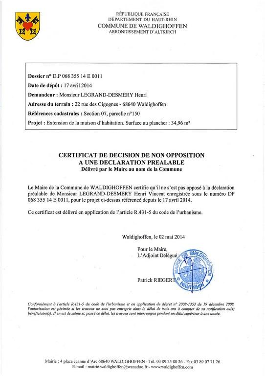 certificat de non opposition une d claration pr alable dp06835514e0011 m legrand desmery. Black Bedroom Furniture Sets. Home Design Ideas