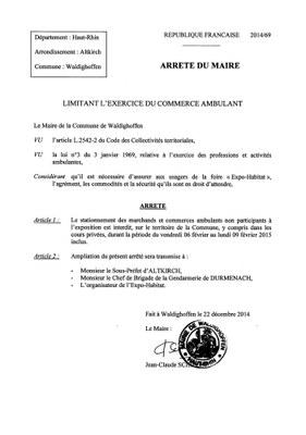 Arrêté 2014/69 - limitant l'exercice du commerce ambulant