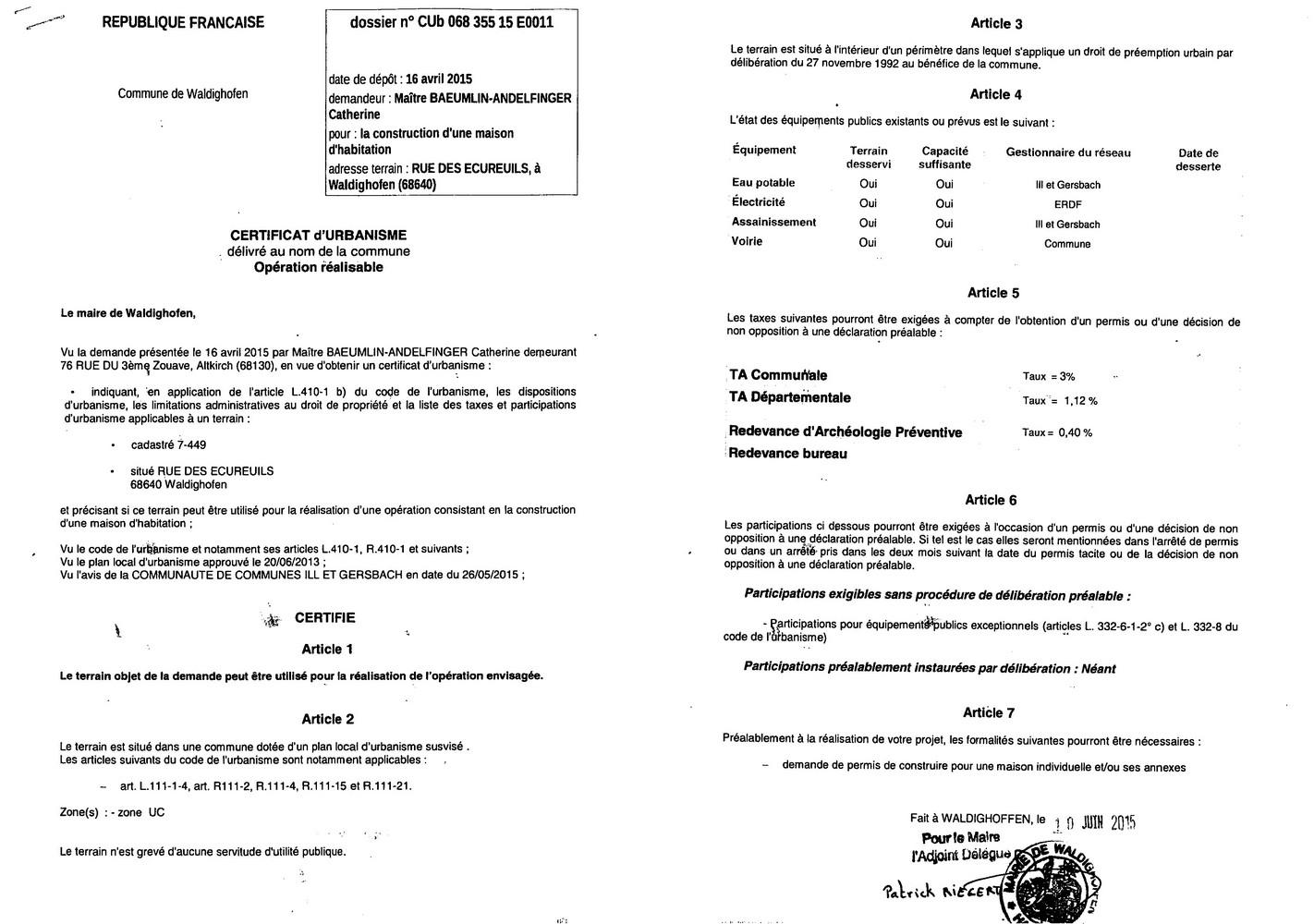 Certificat d'urbanisme délivré à Maître Catherine BAEUMLIN-ANDELFINGER, notaire