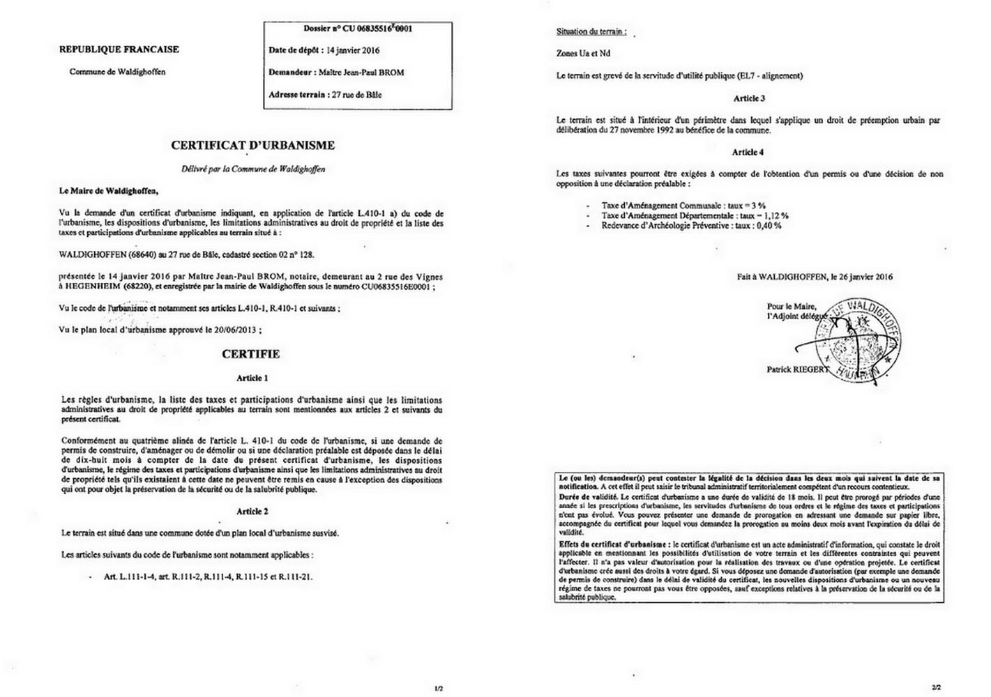 Certificat d 39 urbanisme d livr ma tre brom notaire for Certificat d urbanisme positif