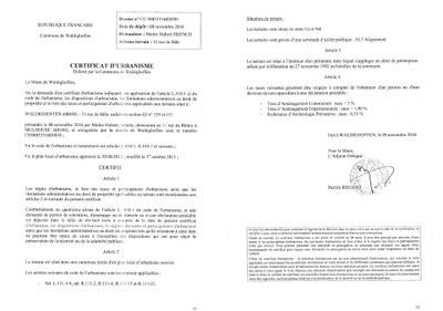 Certificat d 39 urbanisme d livr ma tre fritsch waldighoffen for Certificat d urbanisme positif