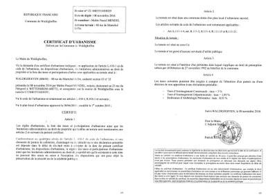 Certificat d 39 urbanisme d livr ma tre mendel waldighoffen for Certificat d urbanisme positif