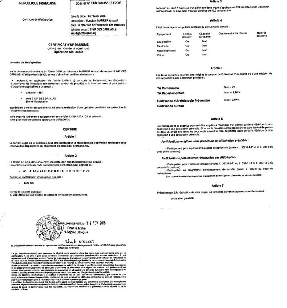 Certificat D Urbanisme Operationnel Delivre A M Maurer Arnaud