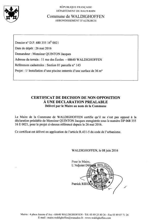Décision à la déclaration préalable de M. QUINTON